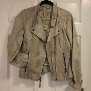 GUESS • Faux Leather Tan Moto Jacket • XS